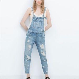 Zara Trafaluc Denim Blue Overalls Ripped Jumpsuit